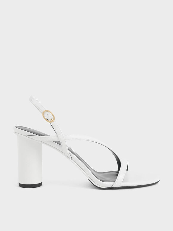 Asymmetric Strap Cylindrical Heel Sandals, White, hi-res