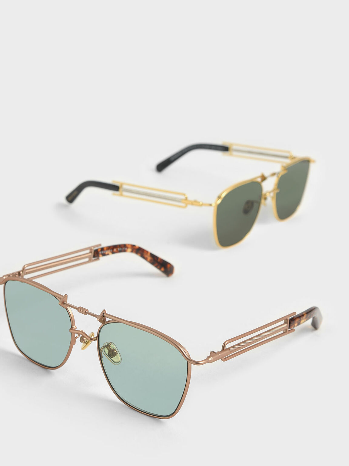 Square Double Bridge Sunglasses, Green, hi-res