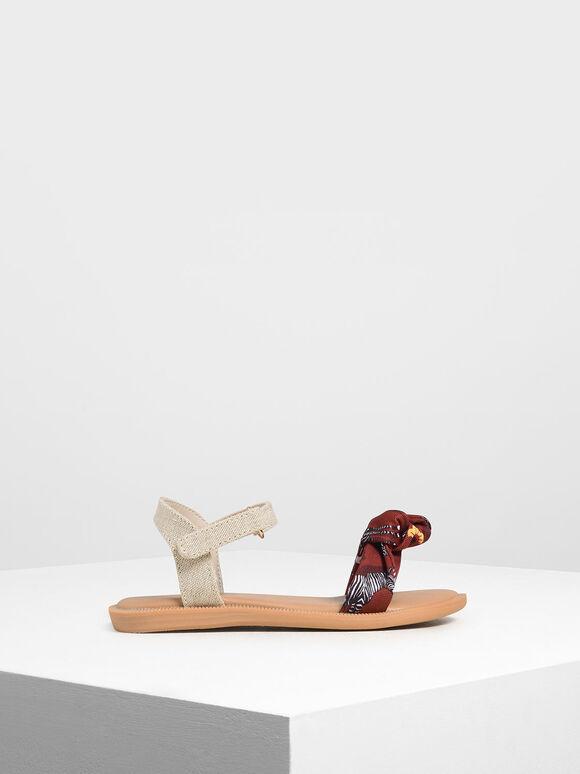 Girls' Zebra Print Sandals, Red, hi-res