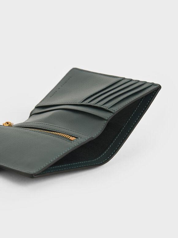 Mini Snap Button Wallet, Teal, hi-res