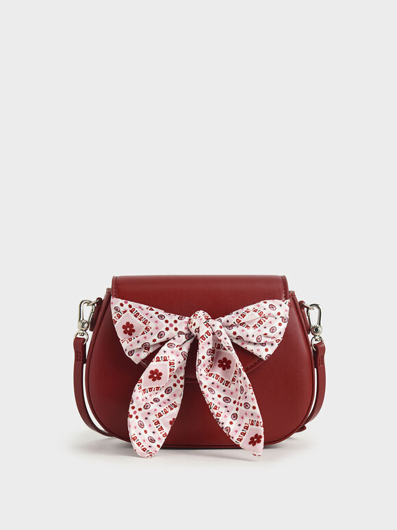 Summer 2020 Responsible Collection: Girls' Bandana Print Bow Crossbody Bag, Red, hi-res