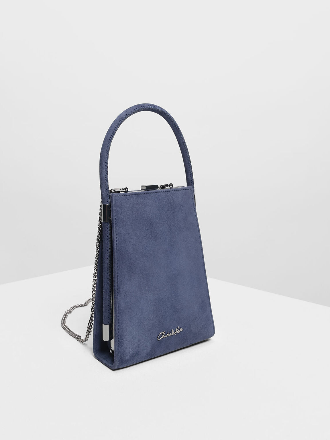 Suede Angular Bag, Dark Blue, hi-res