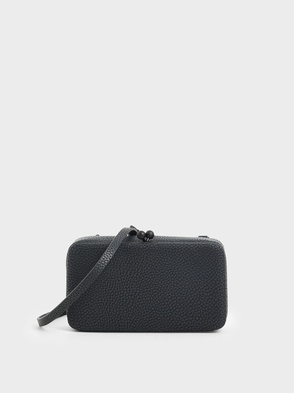 Boxy Textured Twist Lock Crossbody Bag, Black, hi-res