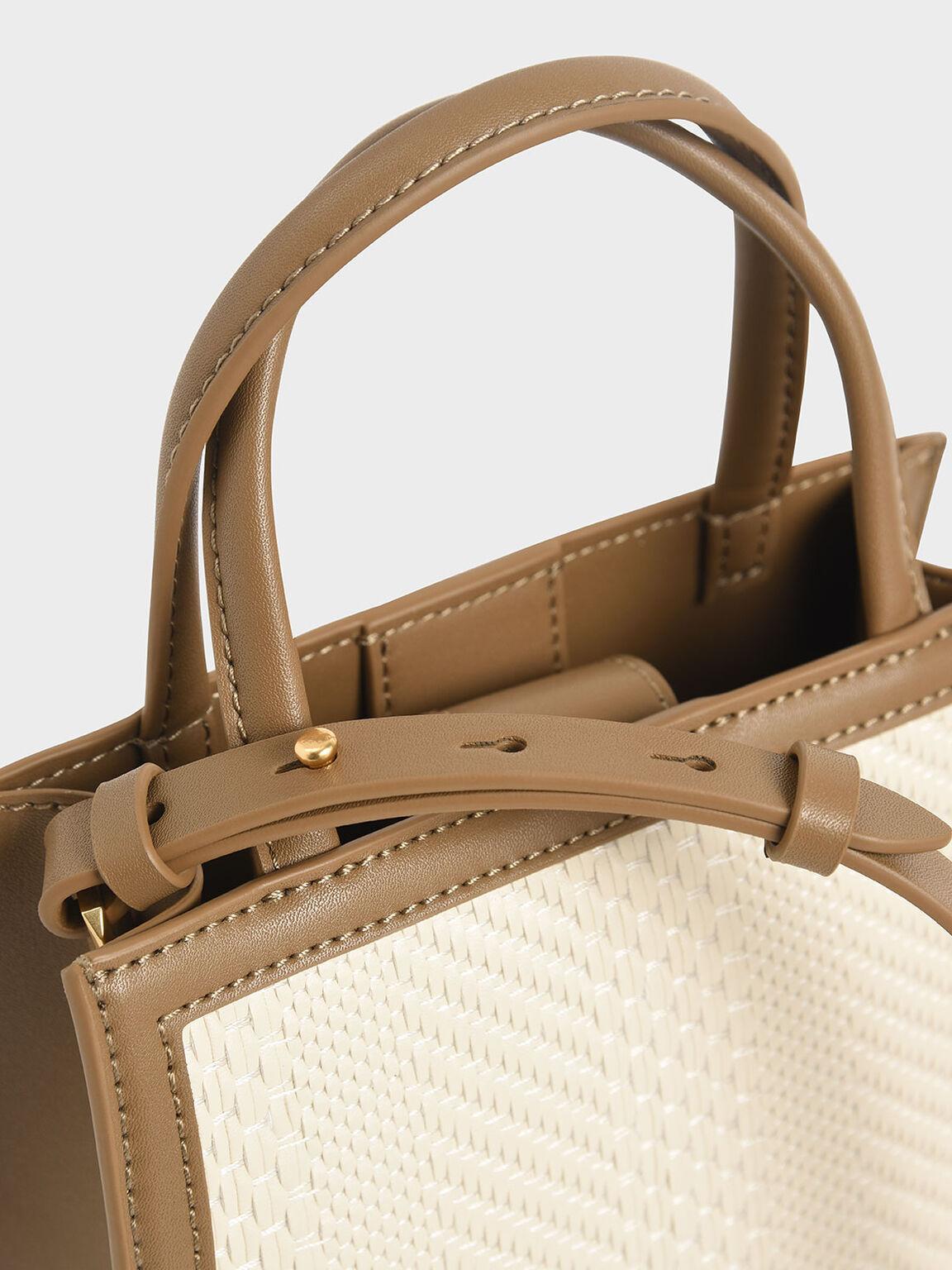 Double Handle Tote Bag, Khaki, hi-res
