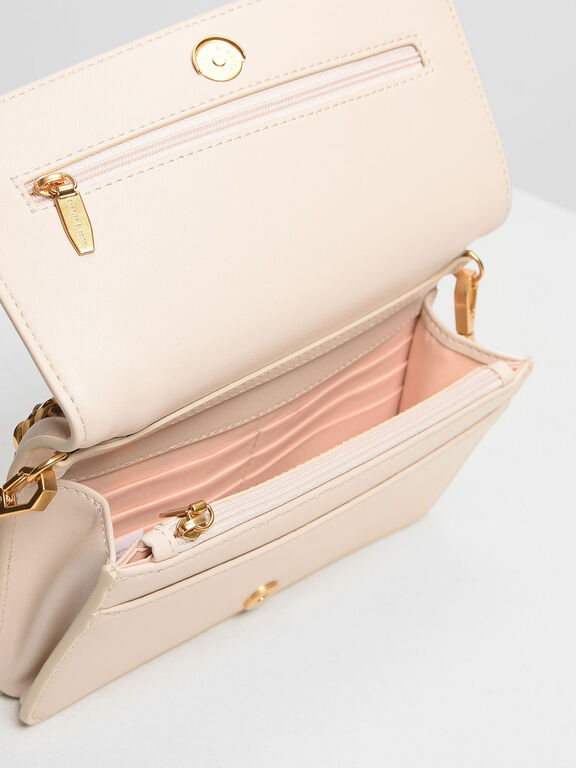 Chain Rimmed Clutch, Light Pink