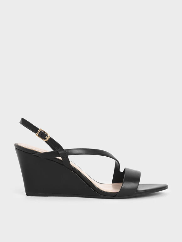 Asymmetric Strap Platform Wedges, Black, hi-res