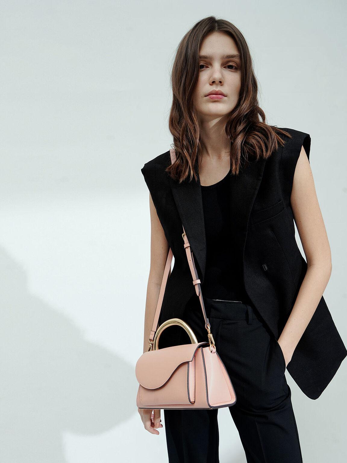 Angular Flap Metallic Top Handle Bag, Pink, hi-res