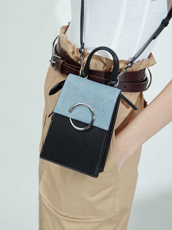 Textured Ring Detail Elongated Bag, Denim Blue, hi-res