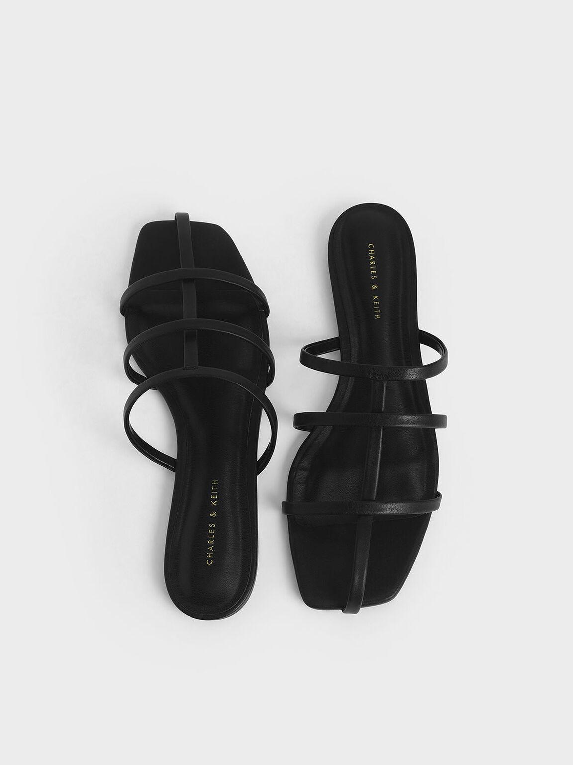 Strappy Caged Flat Sandals, Black, hi-res