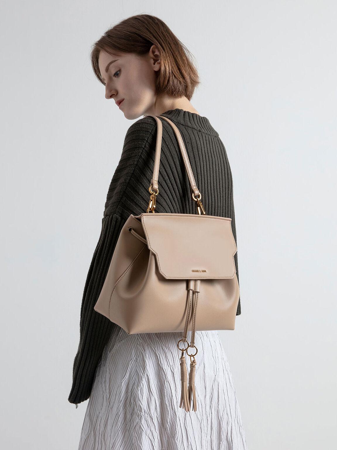Tassel Shoulder Bag, Beige, hi-res