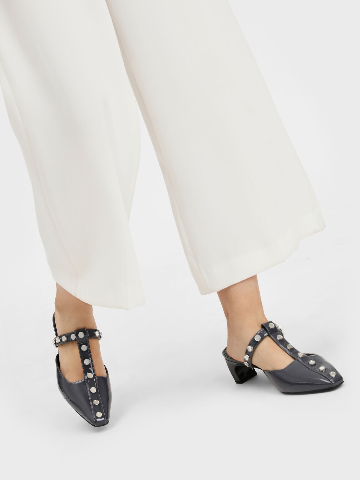 Studded T-Bar Mules, Grey, hi-res