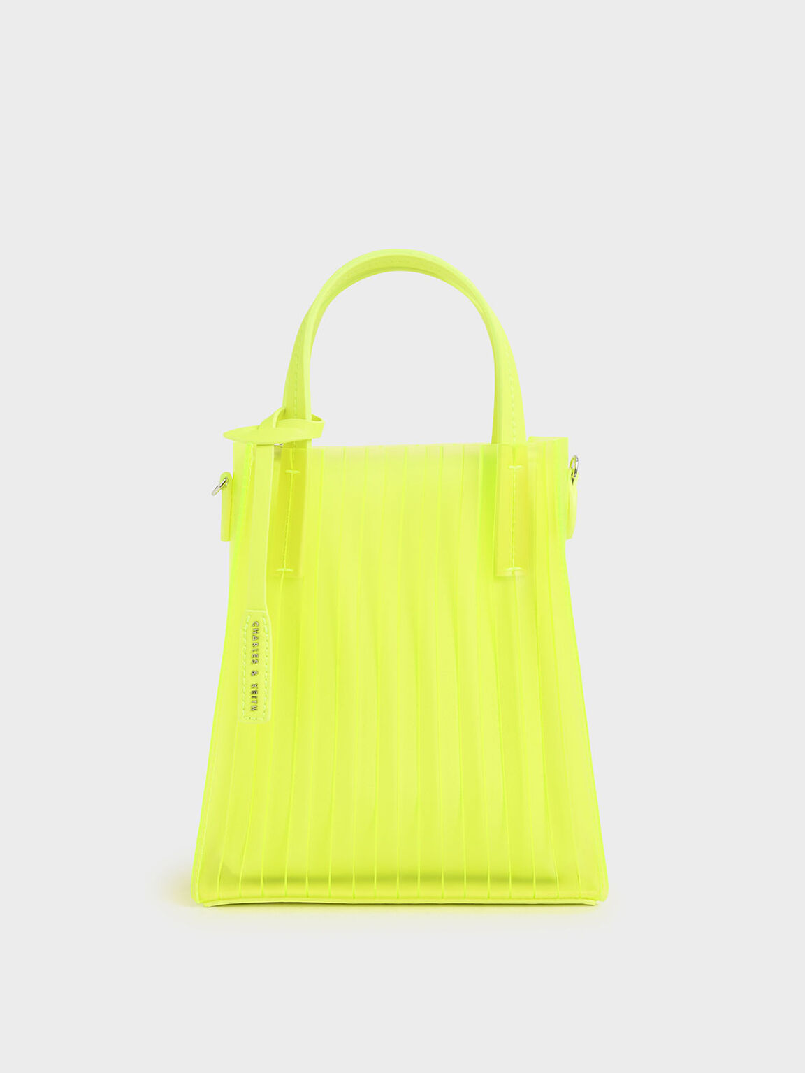 Translucent Pleated Tote Bag, Neon Yellow, hi-res