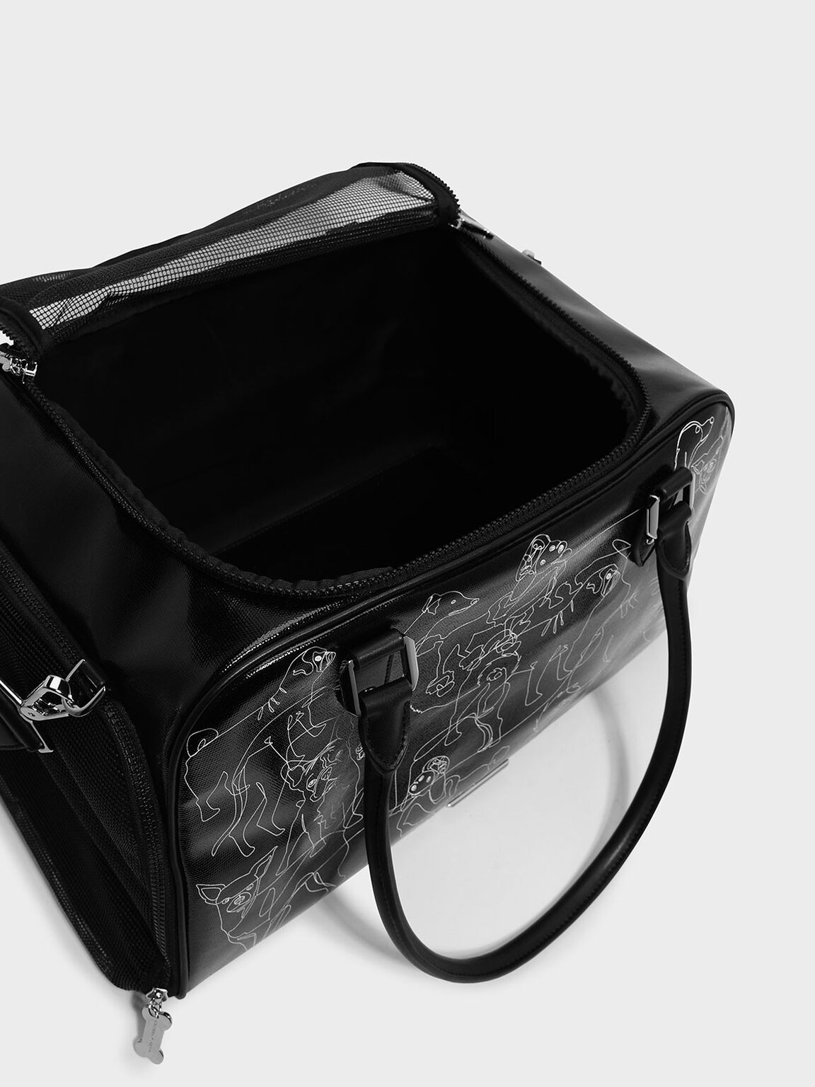Printed Pet Carrier, Black, hi-res