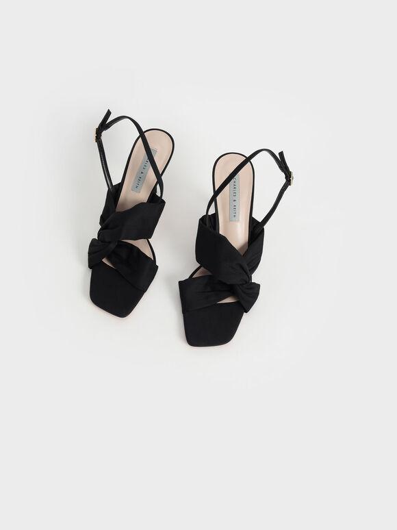 側扭結高跟涼鞋, 黑色, hi-res