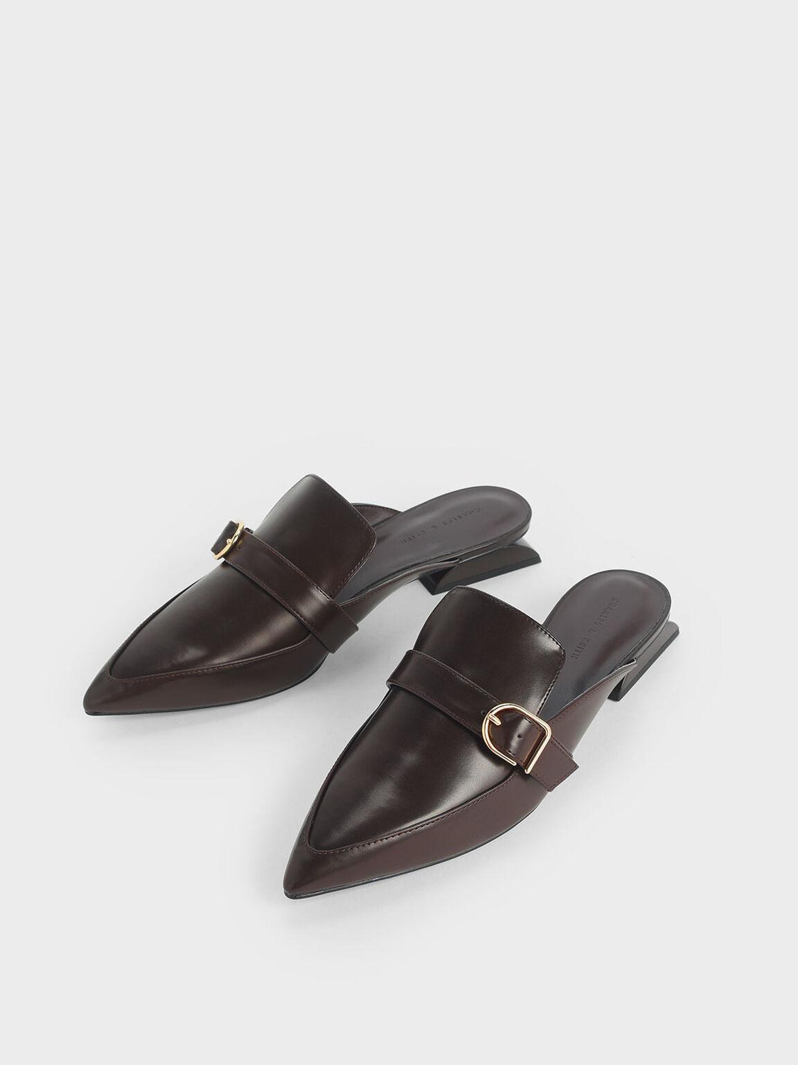 扣環穆勒鞋, 深咖啡, hi-res