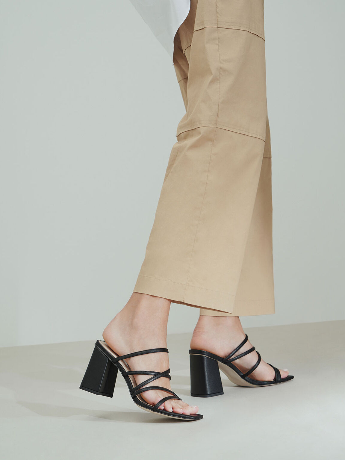 Strappy Chunky Heel Mules, Black, hi-res