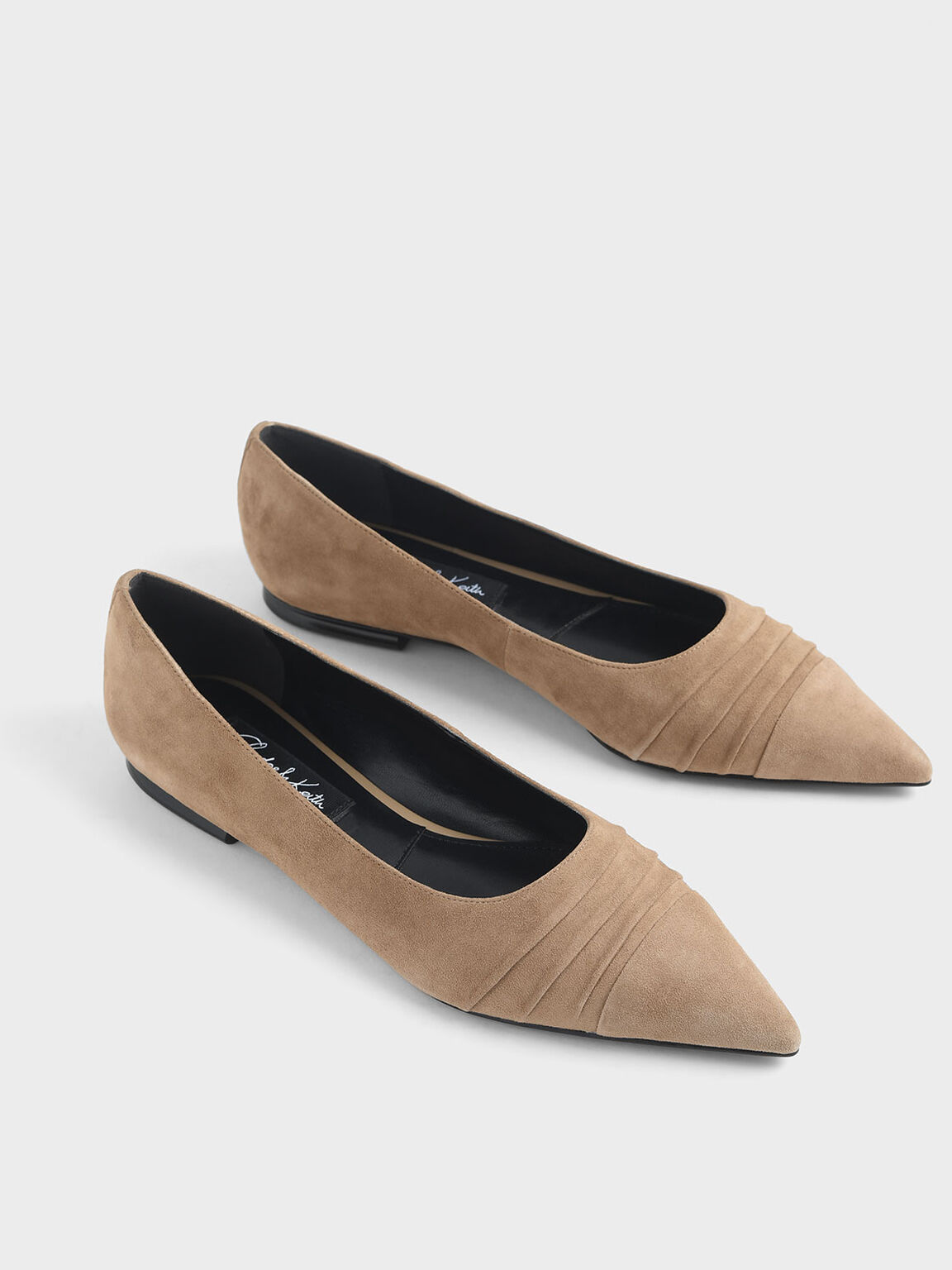Kid Suede Ruched Ballerina Flats, Taupe, hi-res