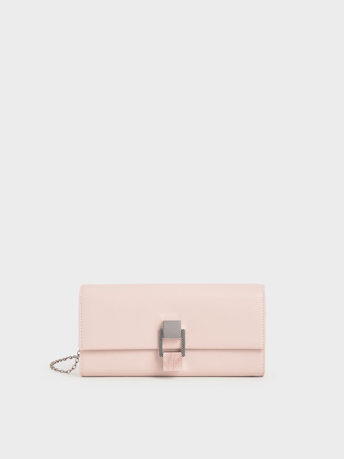 Stone-Embellished Long Wallet, Light Pink, hi-res