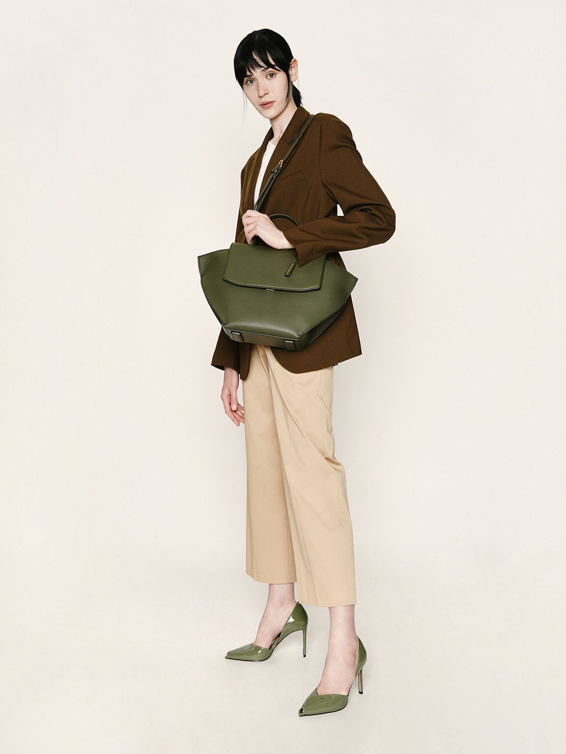 Large Trapeze Top Handle Bag, Olive, hi-res