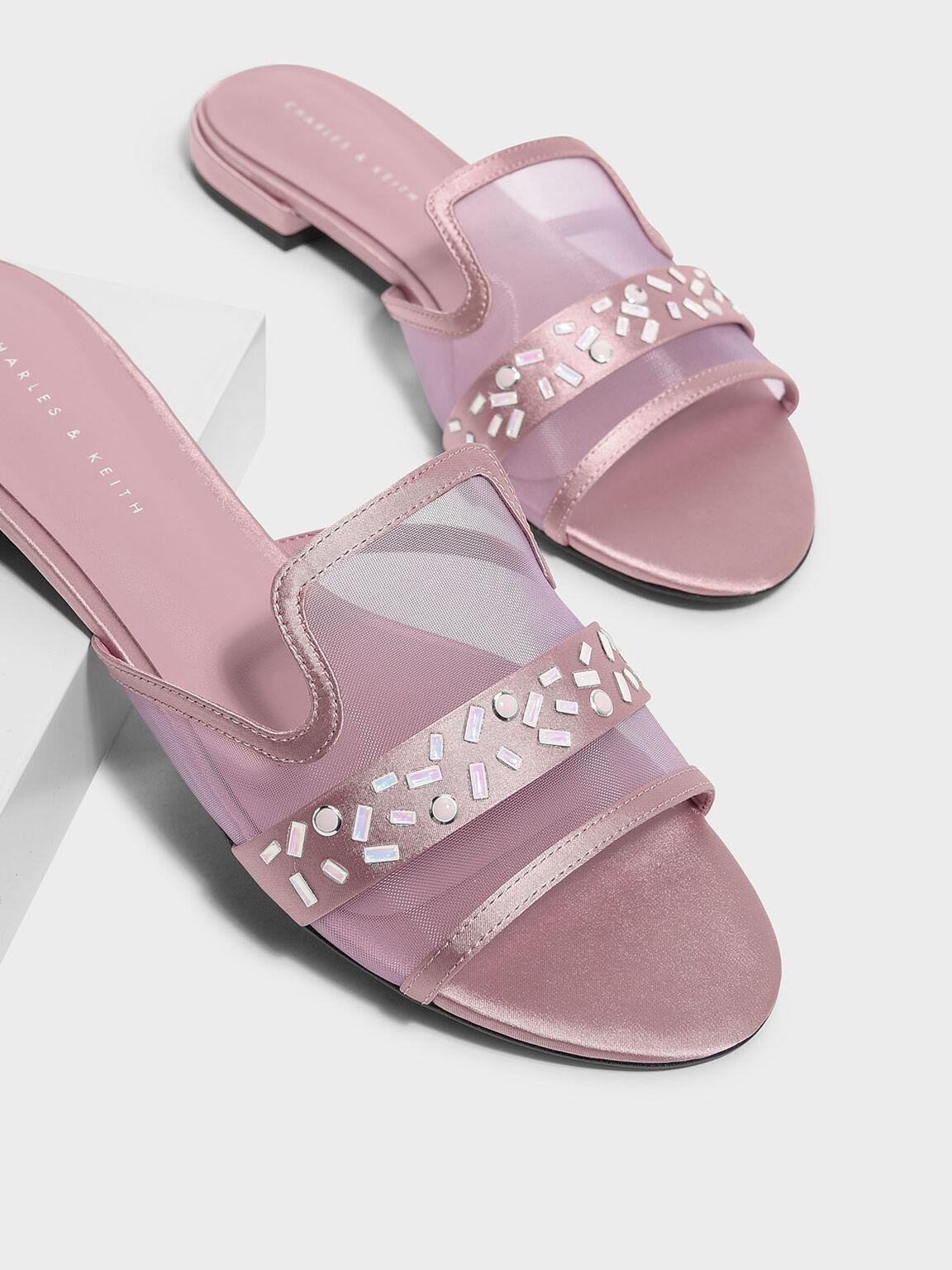 Embellished Mesh Sliders, Pink, hi-res
