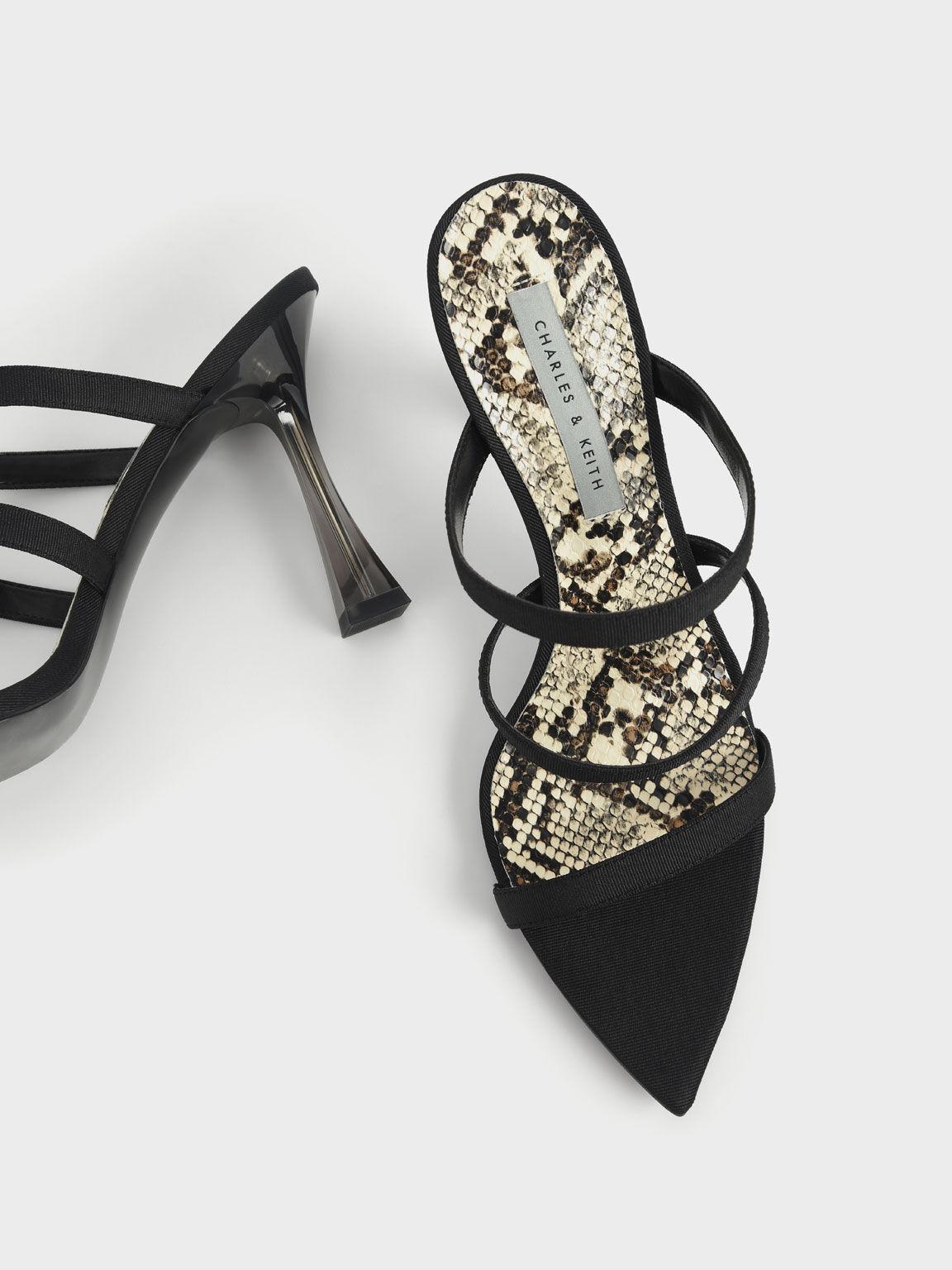 Clear Sculptural Heel Sandals, Black, hi-res