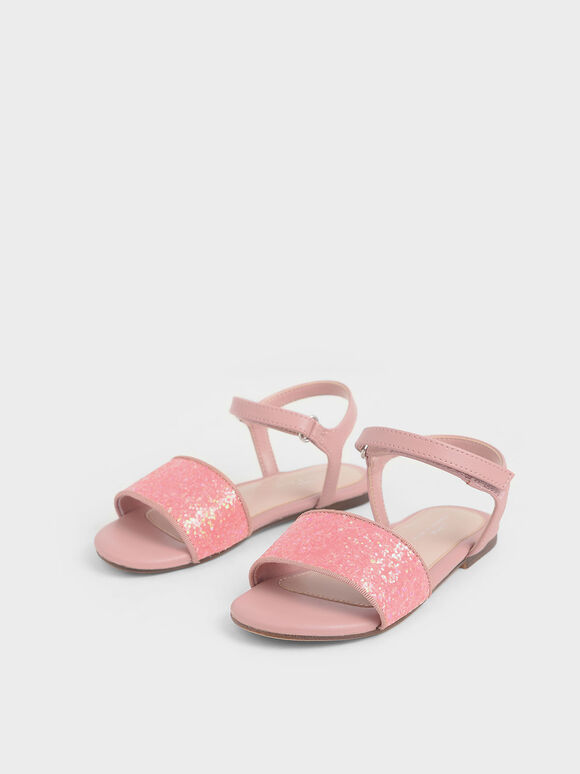 Girls' Glitter Sandals, Pink, hi-res
