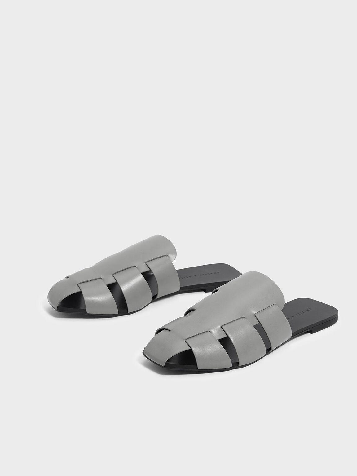Weaved Slip Ons, Grey, hi-res