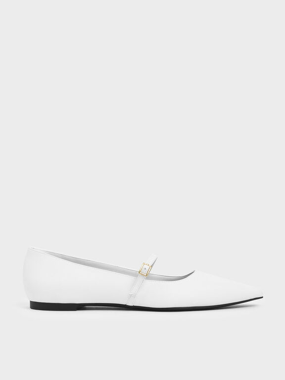 Pointed Toe Mary Jane Flats, White, hi-res