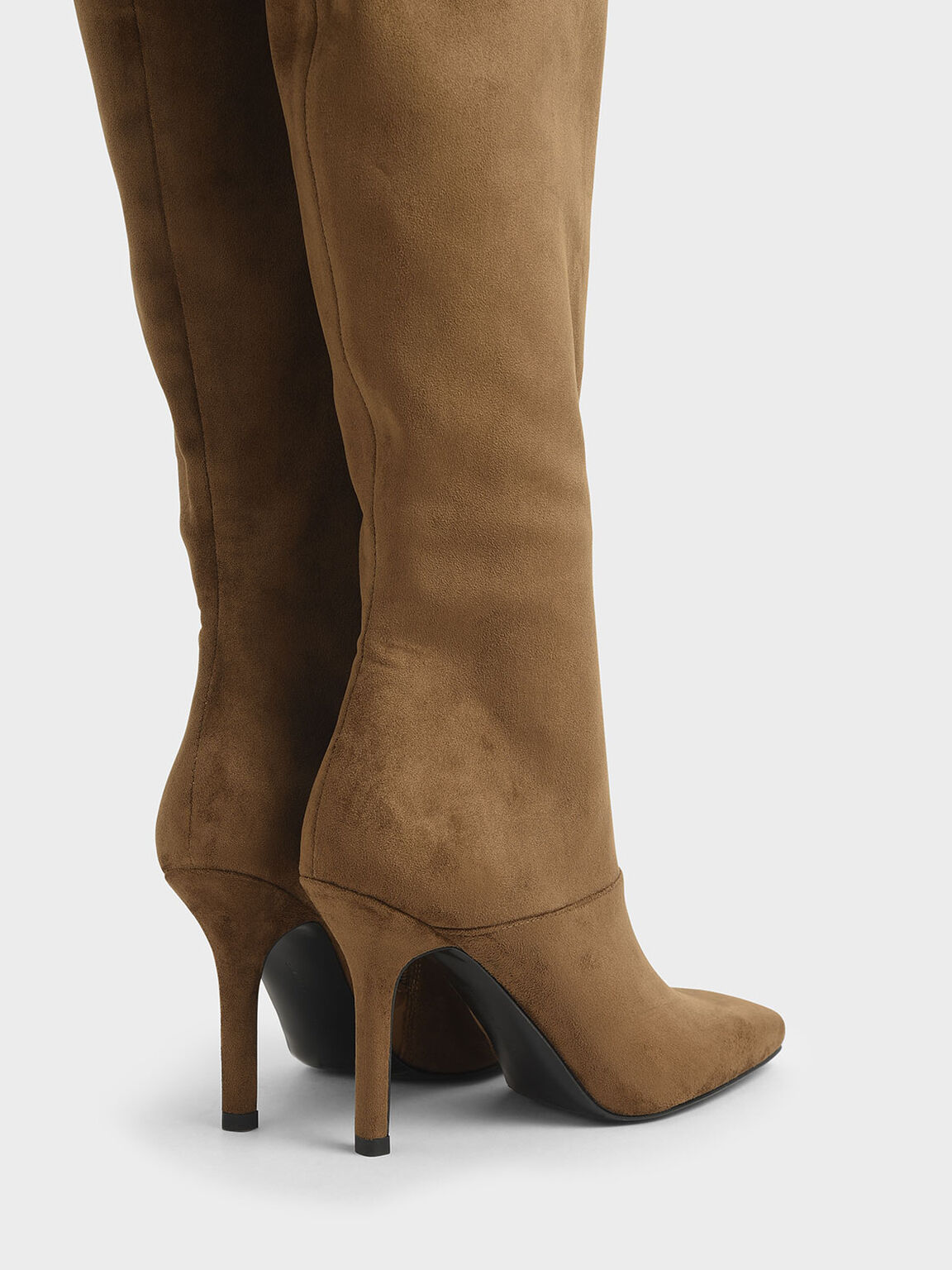 Textured Knee High Boots, Brown, hi-res