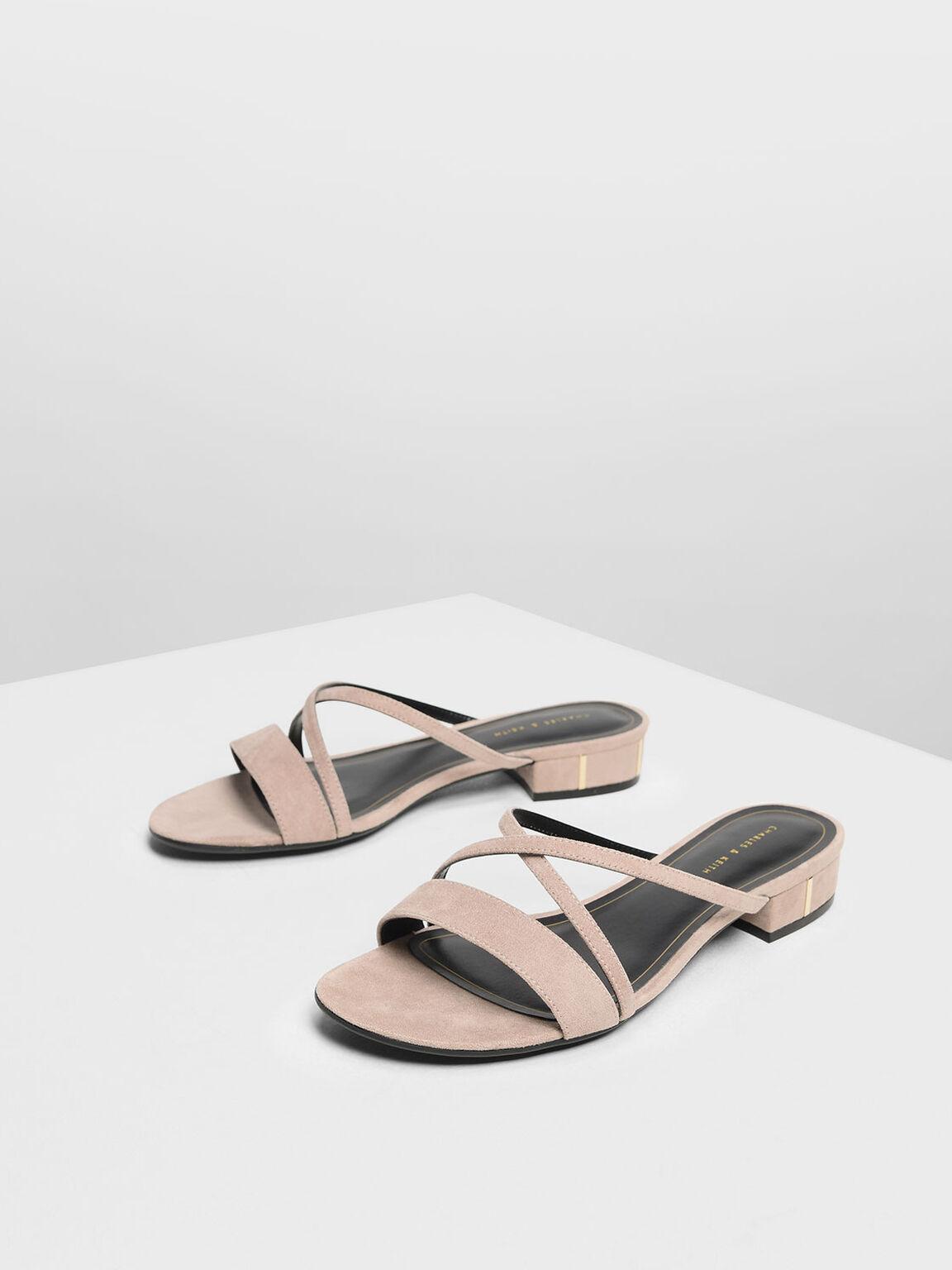 Criss Cross Strappy slide Sandals, Beige, hi-res