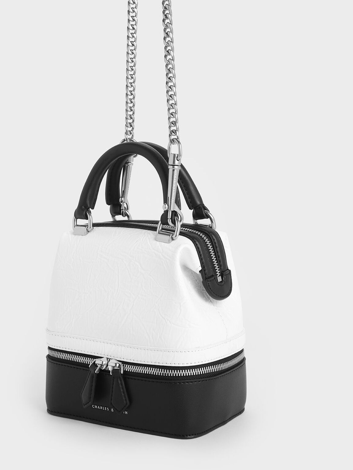 Wrinkled Effect Two-Way Zip Boxy Bag, White, hi-res