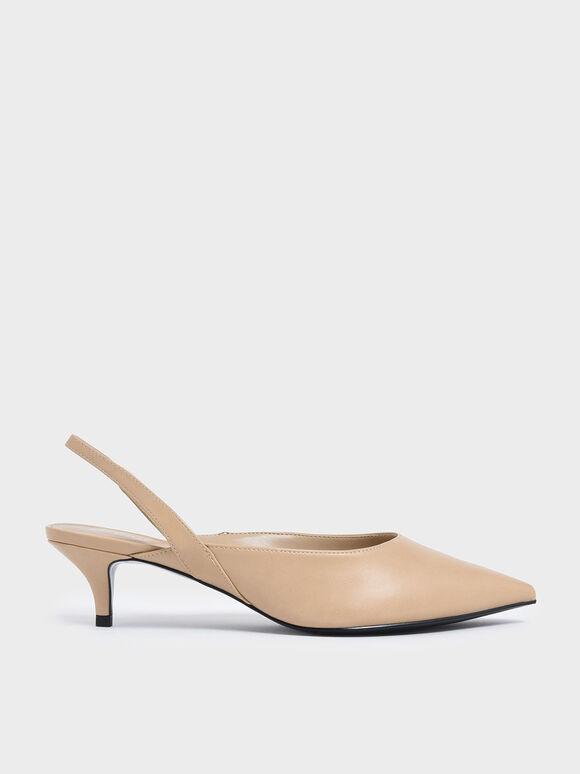Pointed Toe Slingback Kitten Heels, Nude, hi-res