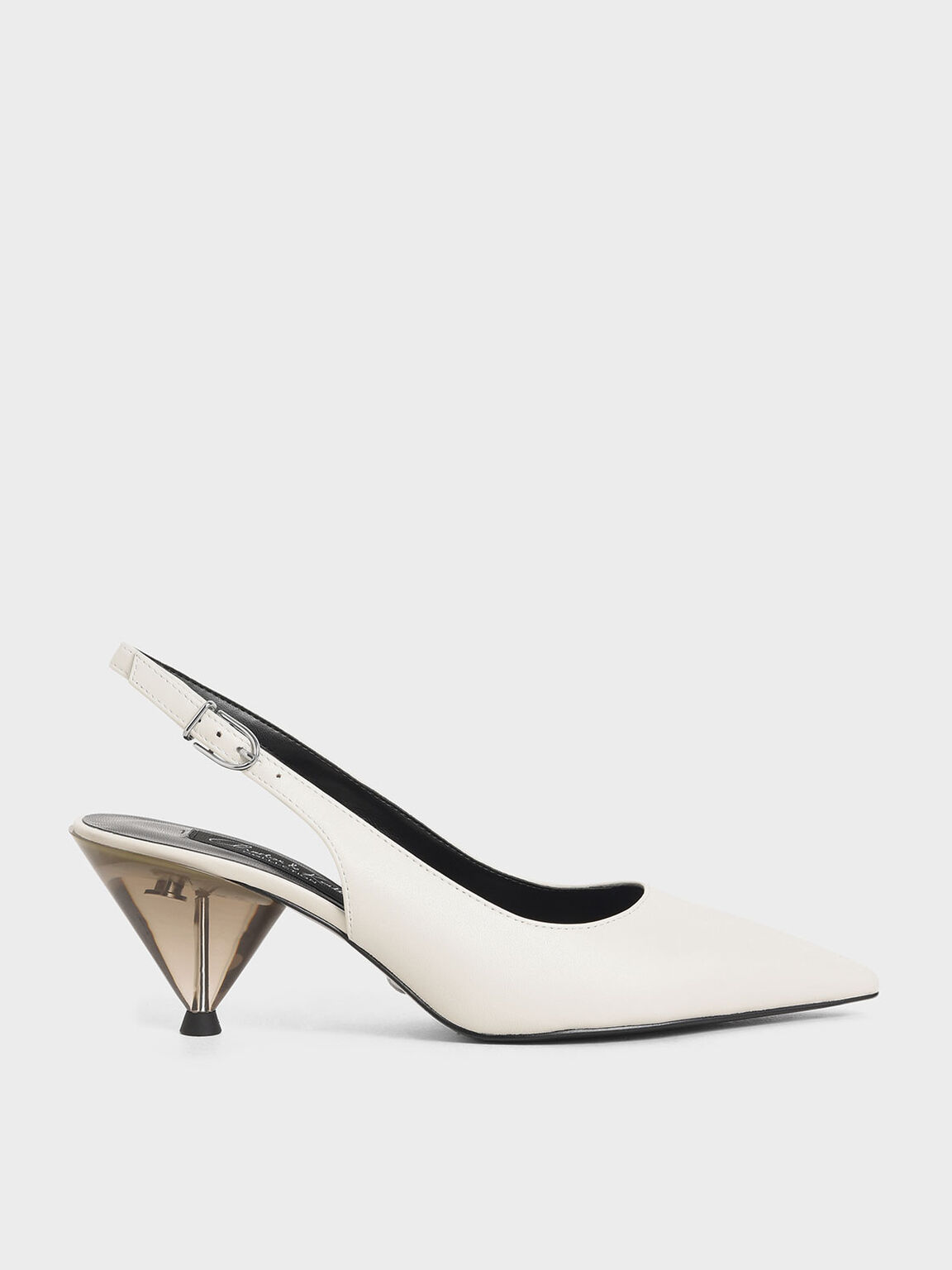 Leather Cone Heel Pumps, White, hi-res