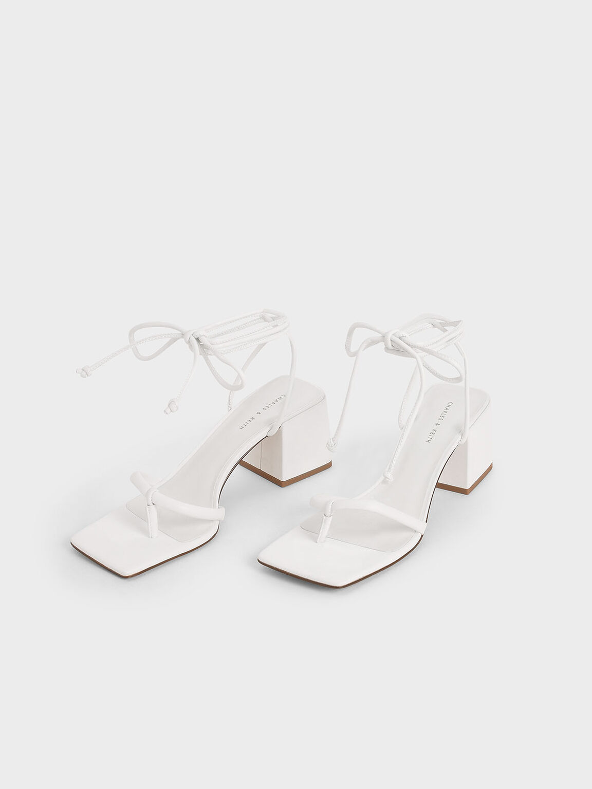Lace Up Block Heel Sandals, White, hi-res