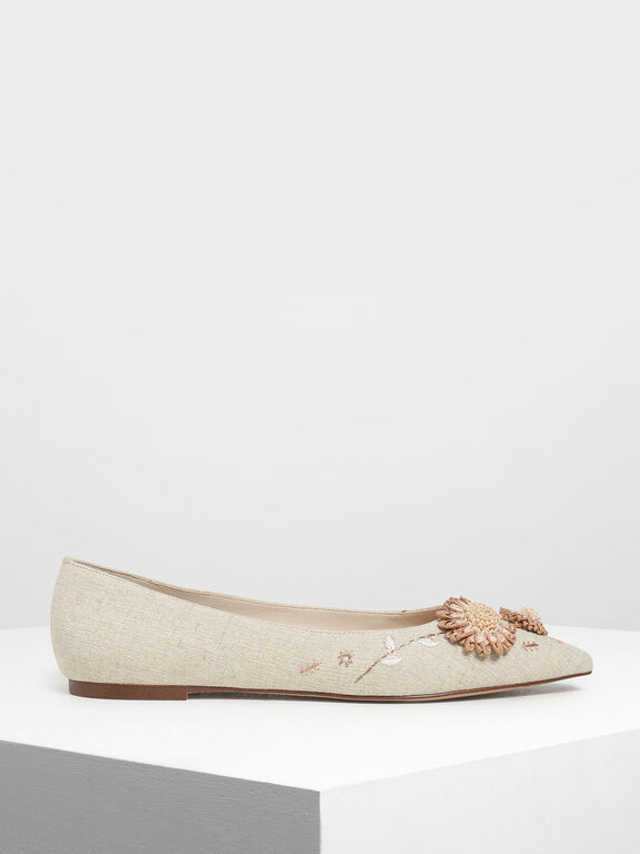Floral Ballerinas, Taupe