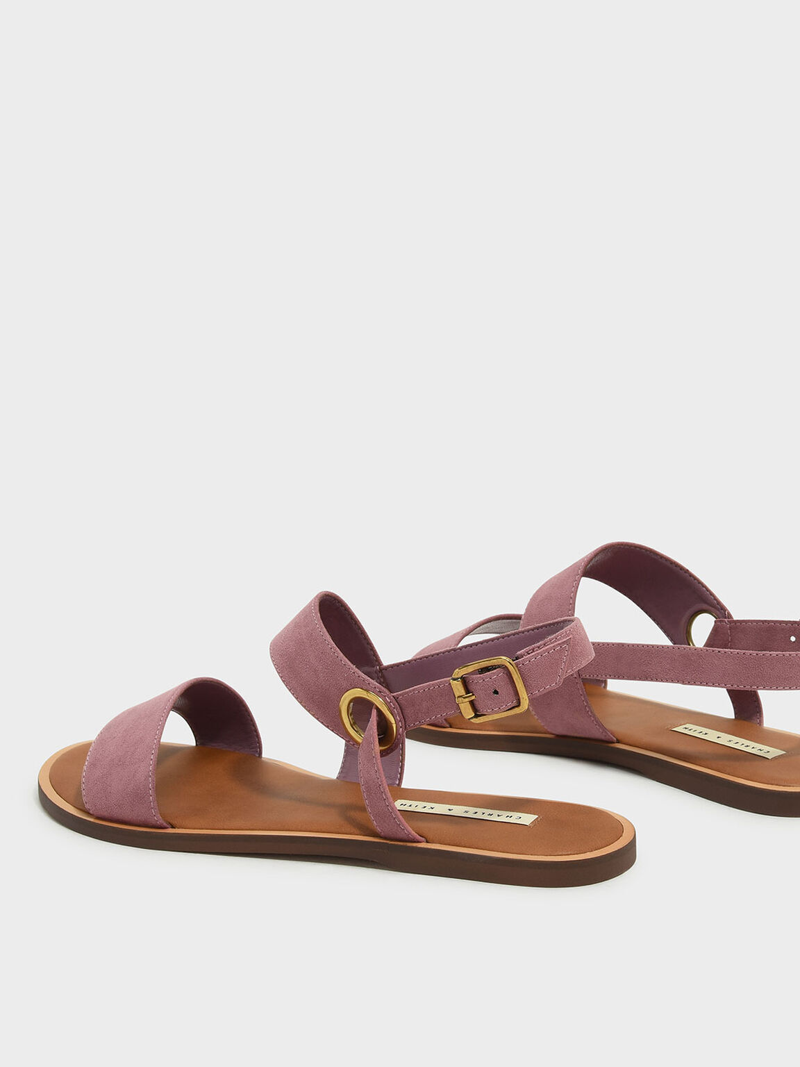 Asymmetrical Sling Back Sandals, Pink, hi-res