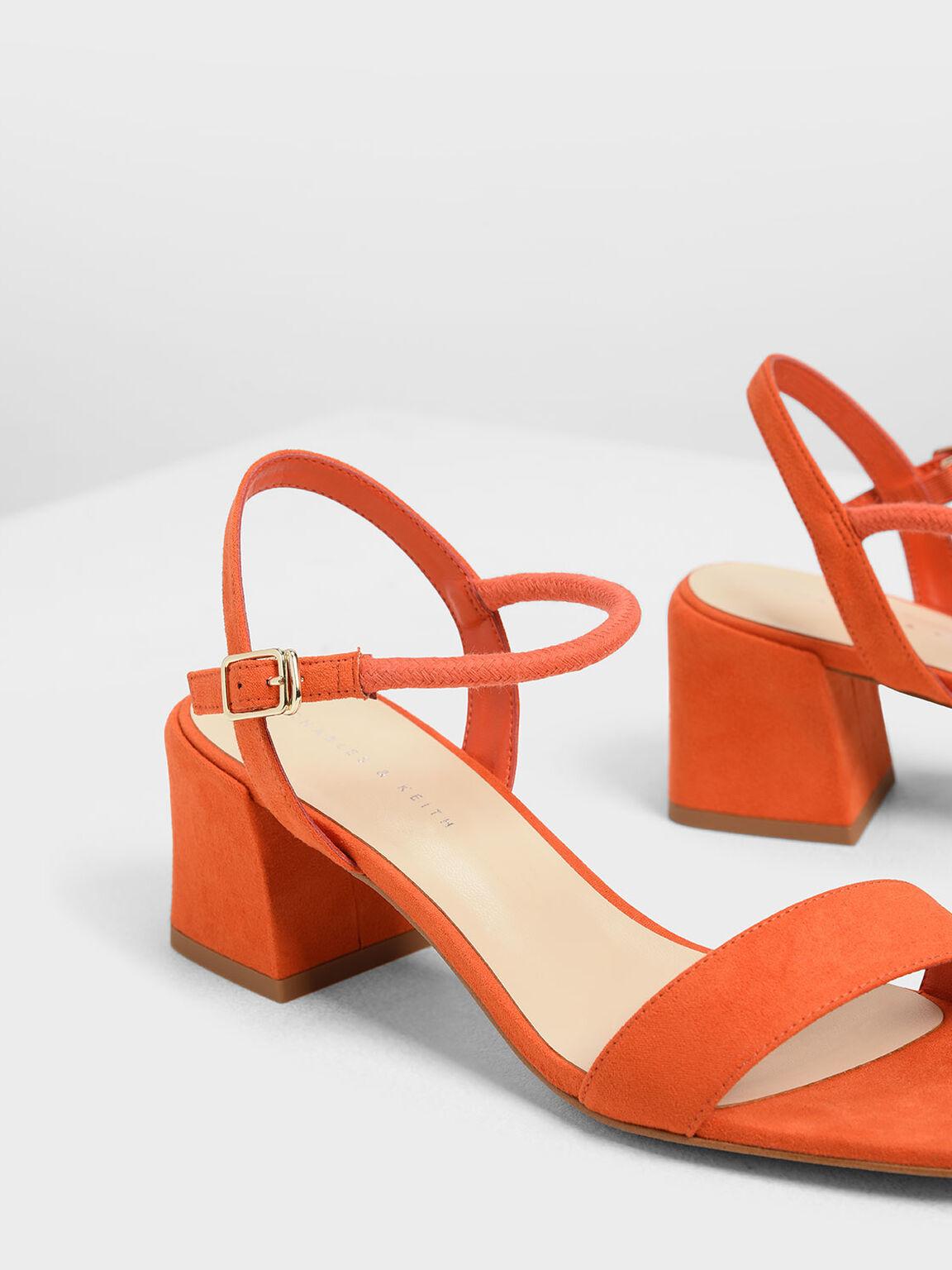 Open Toe Block Heel Sandals, Red, hi-res