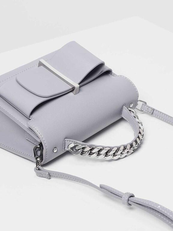 Bow Detail Handbag, Lilac Grey, hi-res