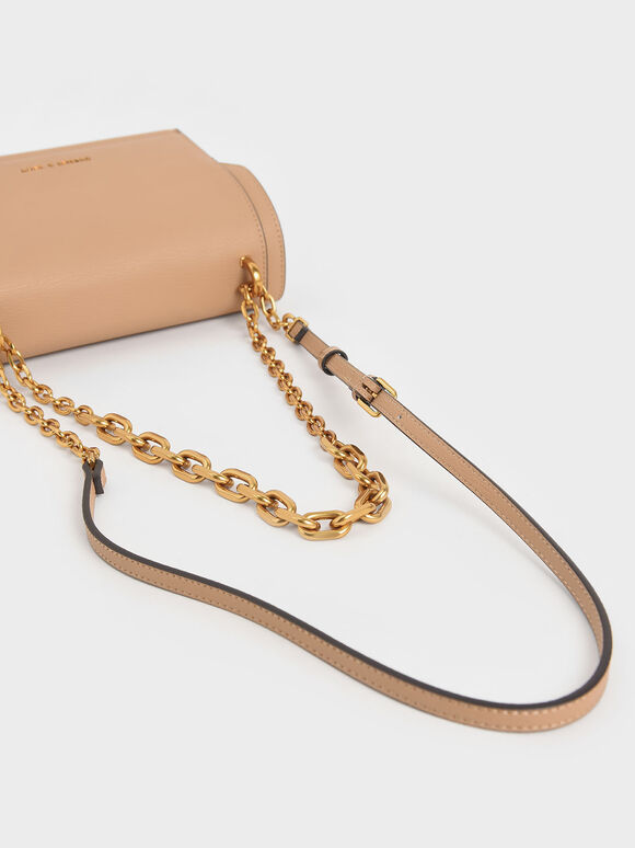 Chain Handle Evening Bag, Beige, hi-res