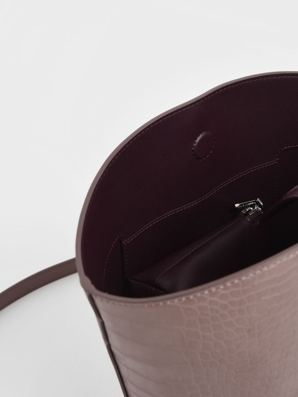 鱷魚紋大型水桶包, 紫灰色, hi-res