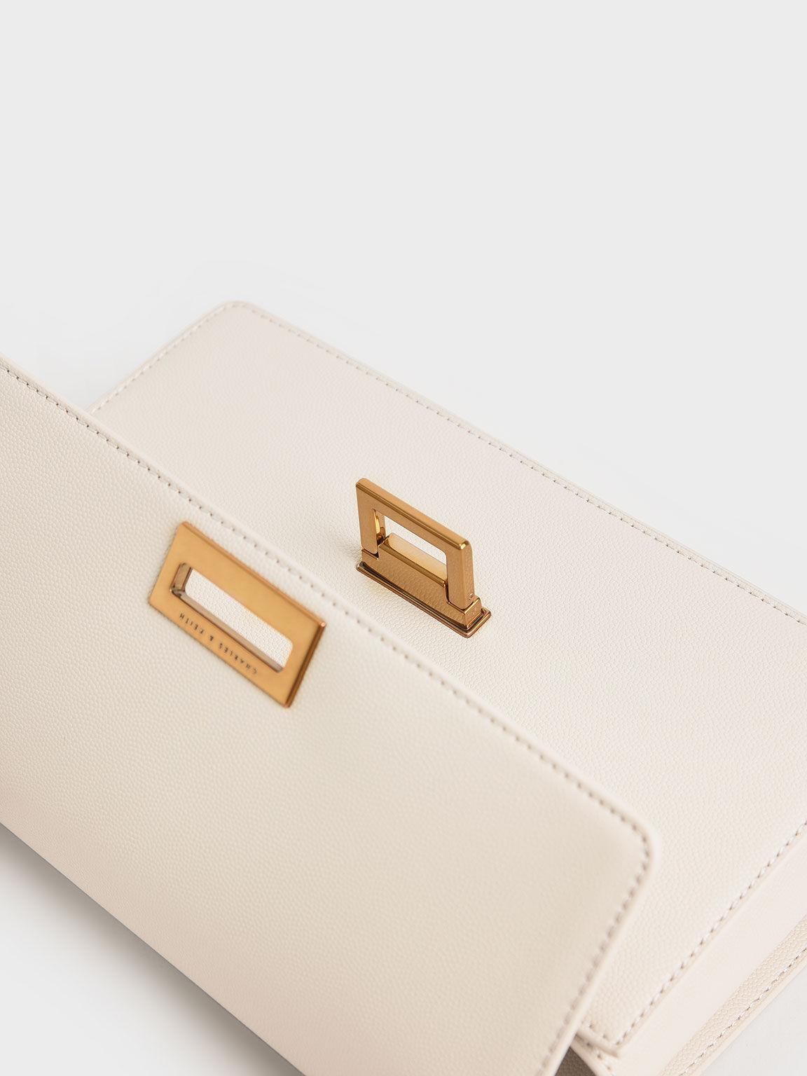 Chain Strap Evening Bag, Cream, hi-res