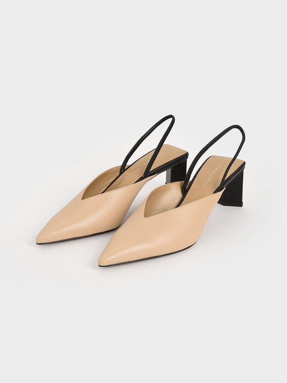 Blade Heel Slingback Court Shoes, Nude, hi-res