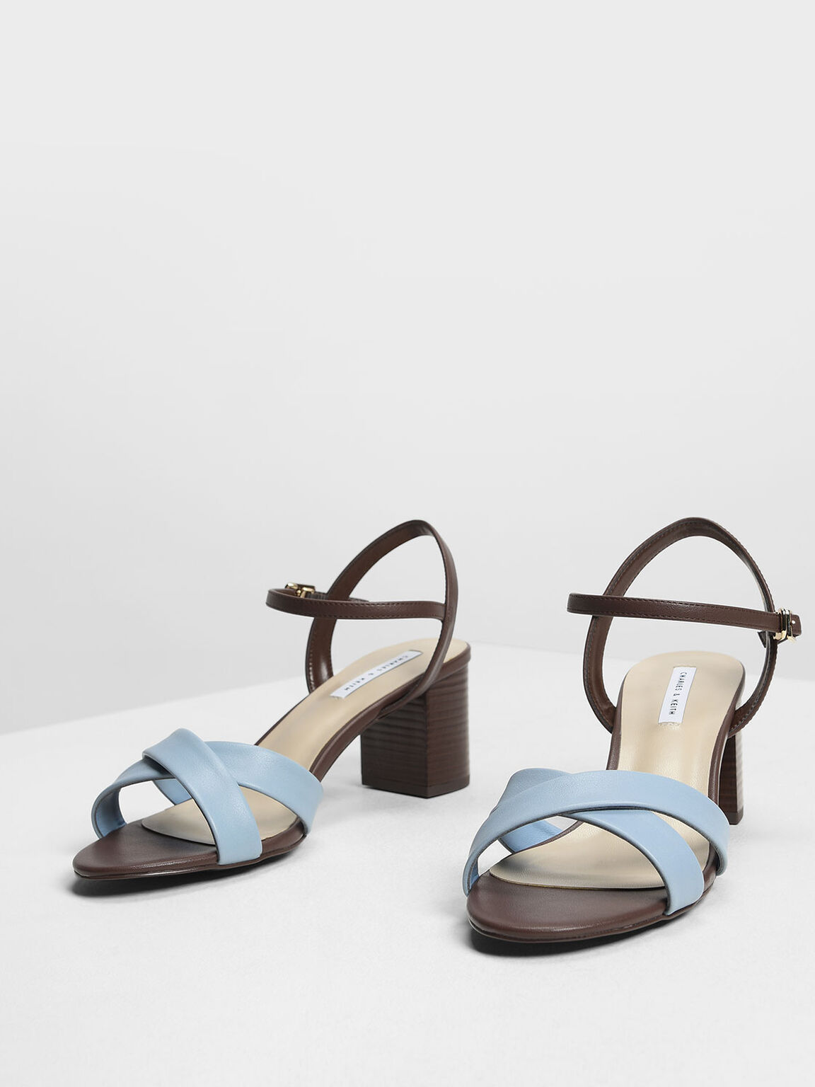 Criss-Cross Two Tone Block Heel Sandals, Blue, hi-res