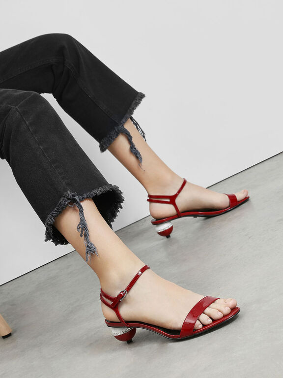 Leather Spherical Heel Sandals, Red, hi-res