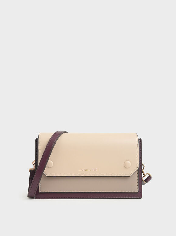 Two-Tone Mini Clutch Bag, Burgundy, hi-res
