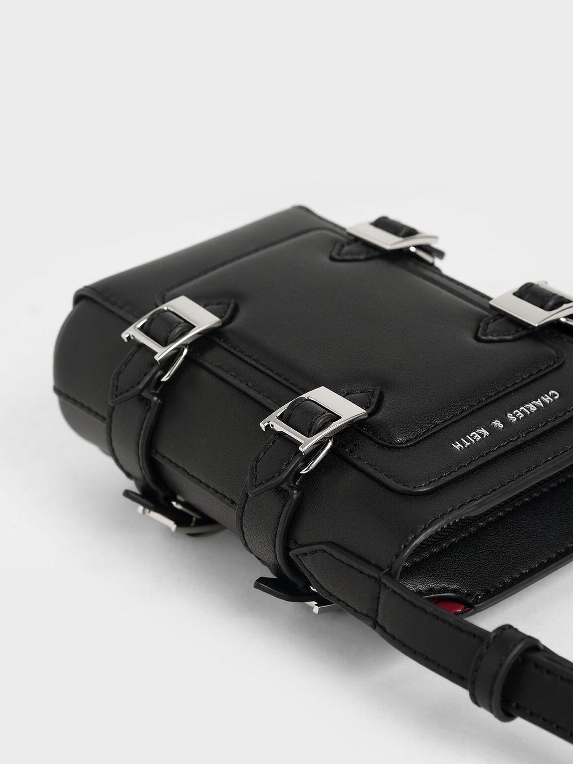 Small Buckle Bucket Bag, Black, hi-res