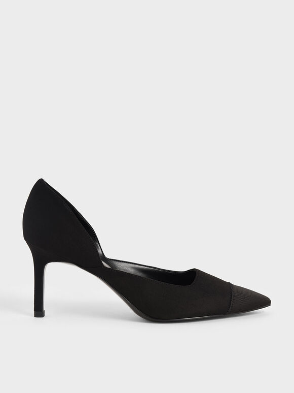 Textured D'Orsay Stiletto Pumps, Black, hi-res