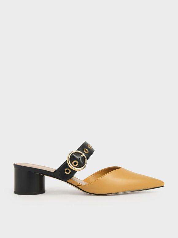 Grommet Mules, Yellow, hi-res