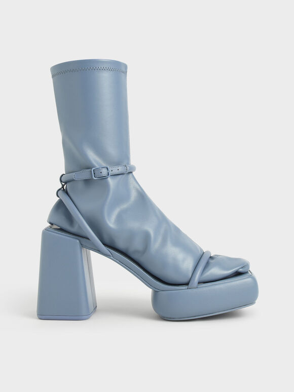 Lucile 粗跟涼鞋襪靴, 藍色, hi-res