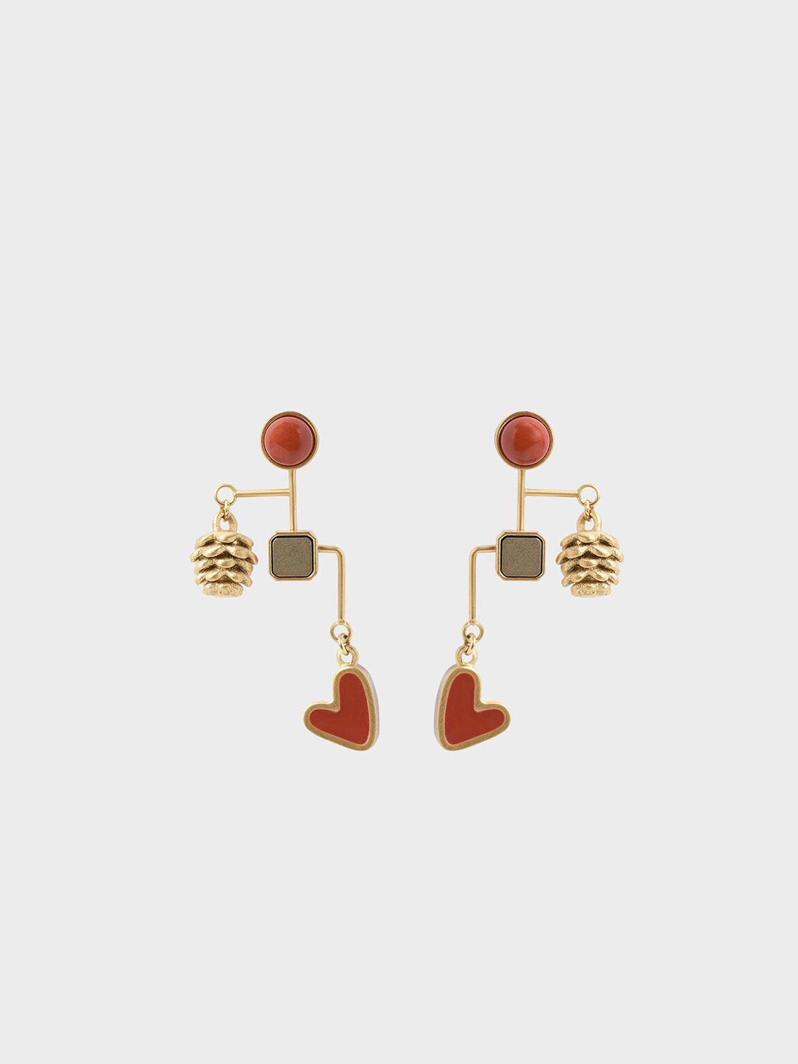 紅碧玉垂墜松果耳釘, 金色, hi-res